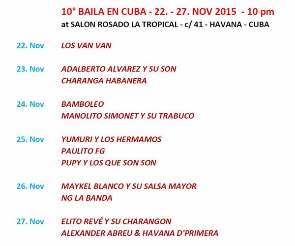 Cartelera Baila en Cuba 2015
