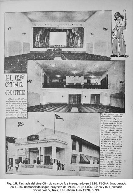 Cine Olimpic, La Havane, Vedado 1920