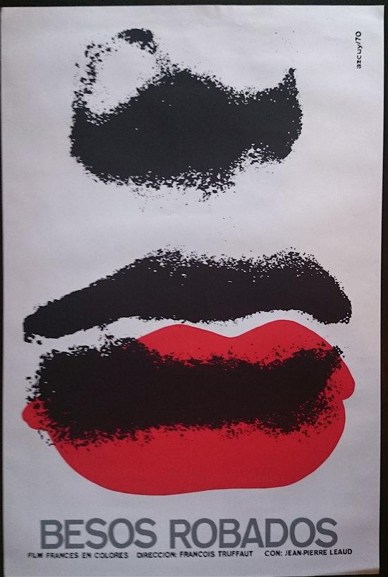 Baisers volés, film de François Truffaut, 1968, affiche de René Azcuy - droits réservés