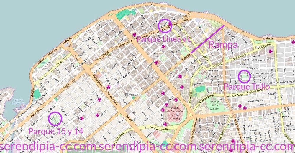 wifi dans le Vedado : Parque 15 y 14 - Parque Linea y L - la Rampa (calle 23) - Parque Trillo, calle San Rafael entre Hospital y Aramburu.