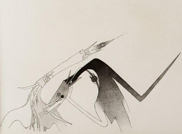 """Wifredo Lam, gravure pour """"Contre une maison sèche"""" de René Char, 1975. Droits réservés"""