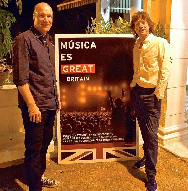 La Havane, Tim Cole and sir Mick Jagger pendant la British Week 2015. Photo droits résevés.