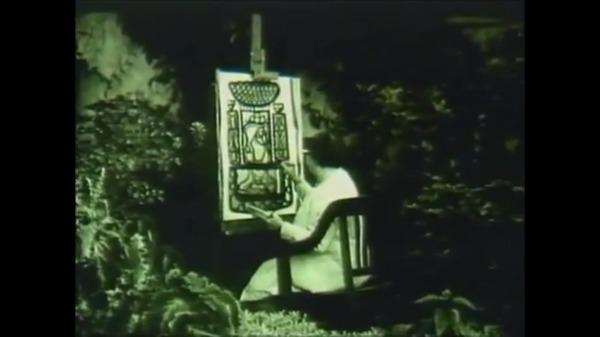 Amelia Peláez pintando en su jardin, image d'archive.