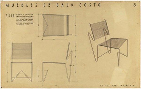 Clara Porset, dessin pour des meubles économiques. Photo MOMA. Droits réservés.