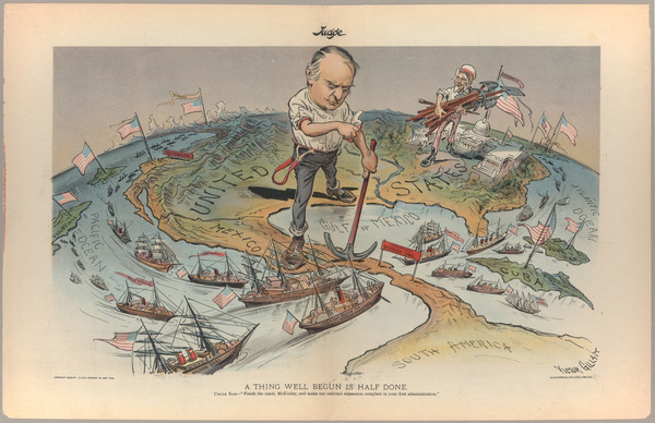 """""""A thing well begun is half done"""", 1899. Illustration satirique reflétant les ambitions impérialistes des Etats-Unis. Cornell University, droits réservés."""