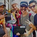 La Havane, internet café improvisé sur la Rampa 2015