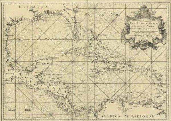 Carte des Caraïbes, 1755. wikimedia commons.